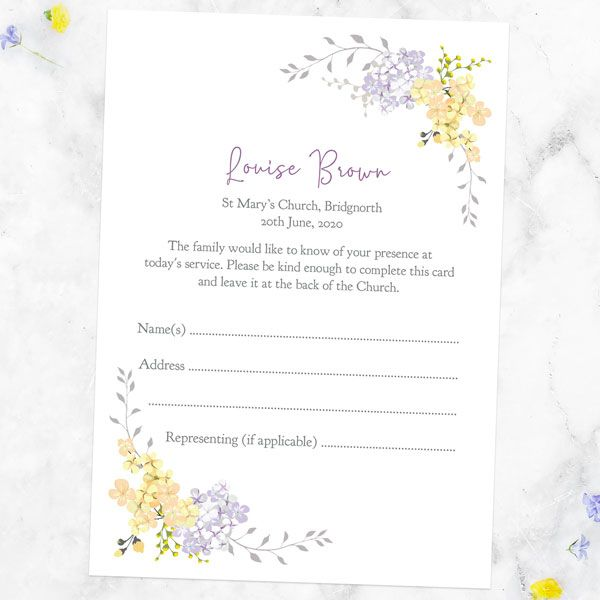 How to Use Funeral Attendance Cards - Funeral Attendance Cards - Lemon & Lilac Flowers Border