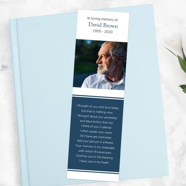 Poems for Funeral Bookmarks - Funeral Bookmark - Blue Photograph Memories