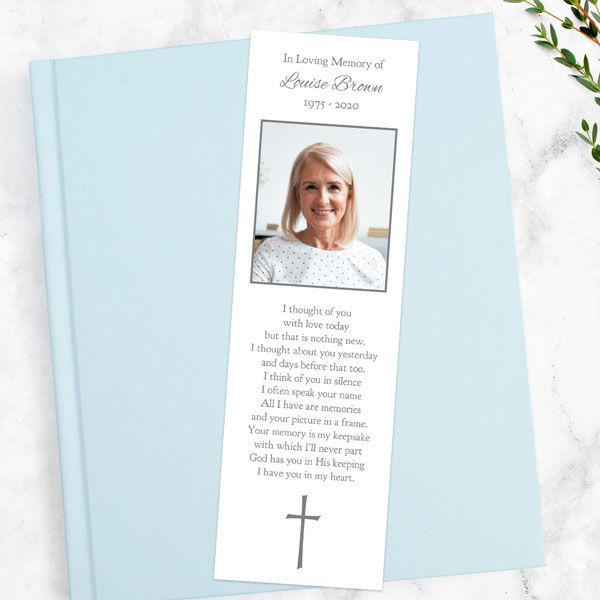 Poems for Funeral Bookmarks - Funeral Bookmark - Ornate Cross Border