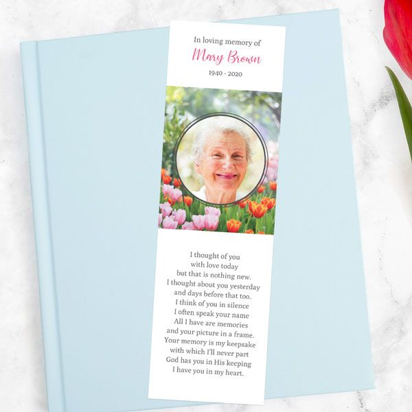 How Do You Personalise a Funeral Bookmark? - Funeral Bookmark - Spring Tulips