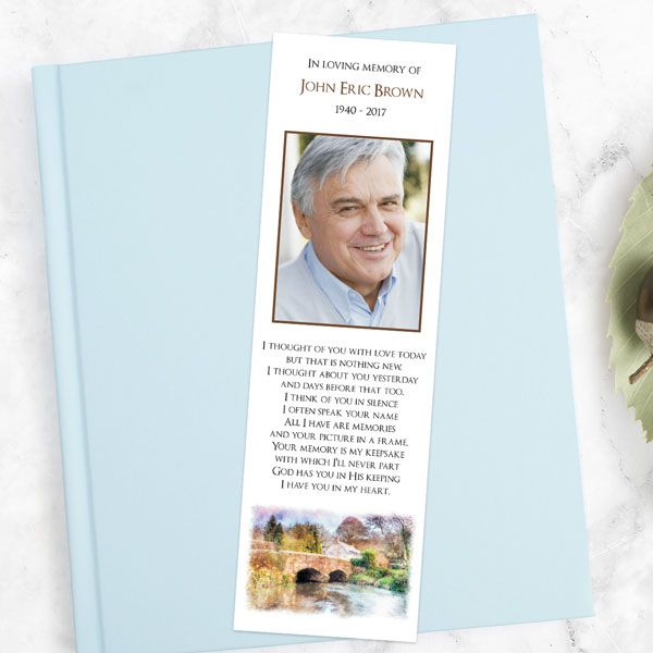 How Do You Personalise a Funeral Bookmark? - Funeral Bookmark - Watercolour Bridge View