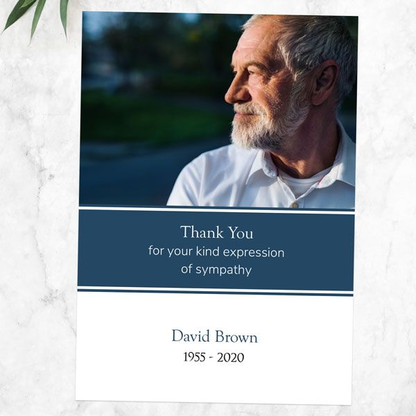 What Should I Put on a Funeral Thank You Card - Funeral Thank You Cards - Blue Photograph Memories