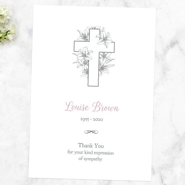 What Should I Put on a Funeral Thank You Card - Funeral Thank You Cards - White Lilies Cross