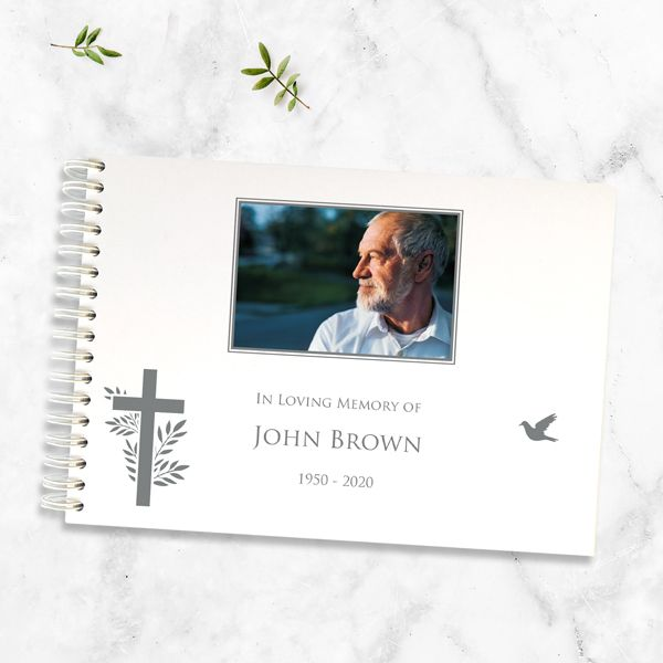 What is a Funeral Condolence Book - Condolence Guest Book - Bird & Cross Photo Silhouette