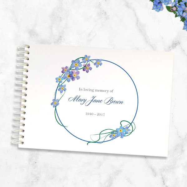 What is a Funeral Condolence Book - Condolence Guest Book - Forget Me Not Frame