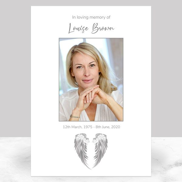 Ideas For Your Funeral Memorial Sign - Funeral Memorial Sign - Grey Angel Wings