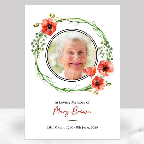 Ideas For Your Funeral Memorial Sign - Funeral Memorial Sign - Watercolour Poppy Garland