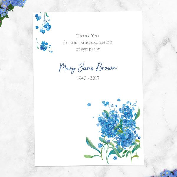 What Should I Put on a Funeral Thank You Card - Funeral Thank You Cards - Watercolour Forget Me Nots