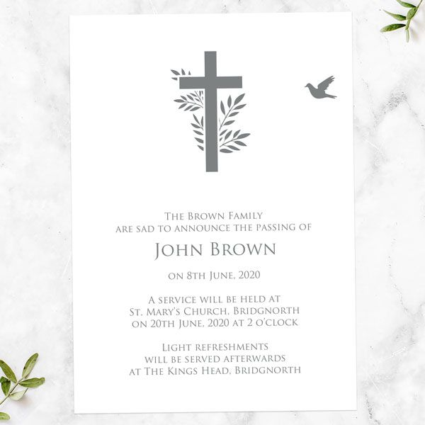 How to Create a Meaningful Funeral - Funeral Announcement Cards - Bird & Cross Silhouette