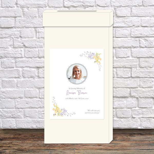 What Is a Funeral Post Box? - Funeral Post Box - Lemon & Lilac Flowers Border