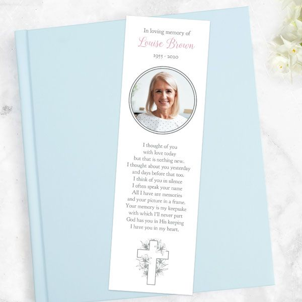 Funeral Poems for Mum - Funeral Bookmark - White Lilies Cross