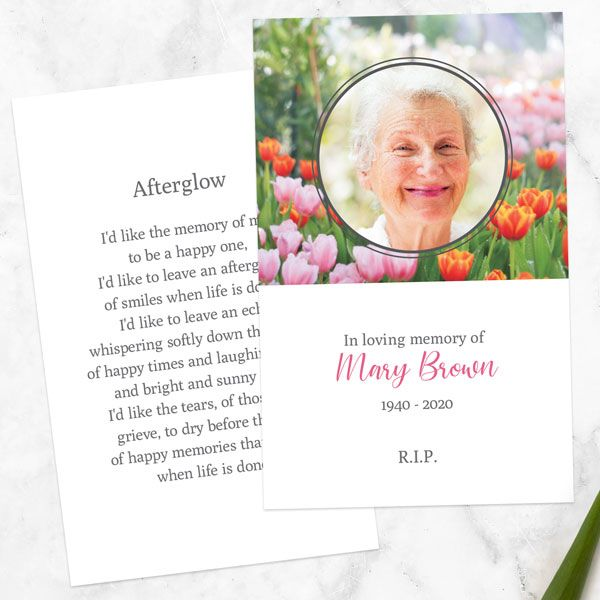 What Do You Write on a Memorial Card? - Funeral Memorial Cards - Spring Tulips