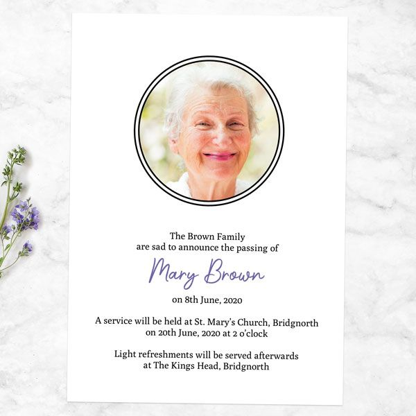 How Do You Announce a Funeral Announcement on Social Media? - Funeral Announcement Cards - Garden Blooms Photo