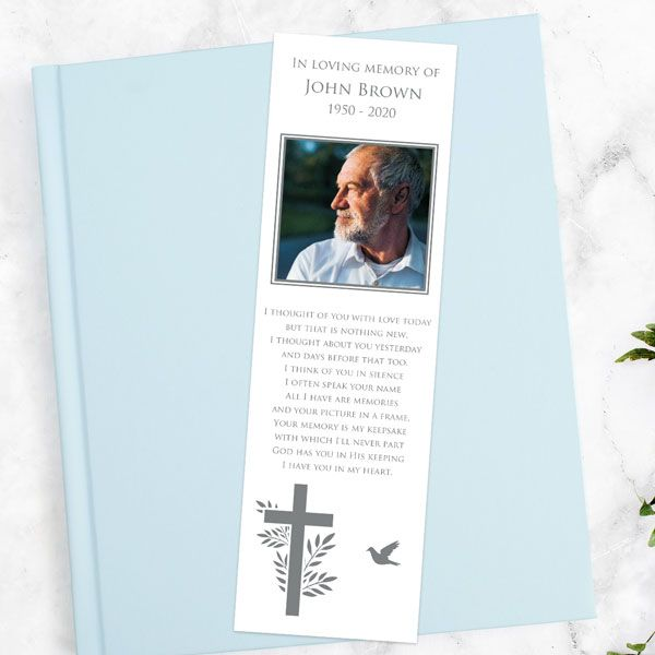 What Do You Give Out at a Funeral? - Funeral Bookmark - Bird & Cross Photo Silhouette