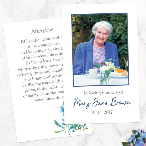 What Do You Give Out at a Funeral? - Funeral Memorial Cards - Watercolour Forget Me Nots