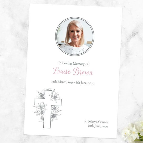 How Do You Make a Memorial Service Program? - Funeral Order of Service - White Lilies Cross