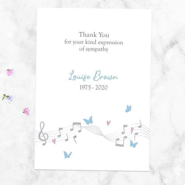 What Do You Give Out at a Funeral? - Funeral Thank You Cards - Musical Notes & Butterflies