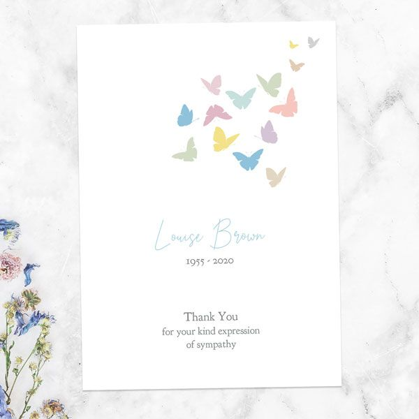 Is It Proper Etiquette to Send Thank You Cards for Sympathy Cards? - Funeral Thank You Cards - Flying Butterflies