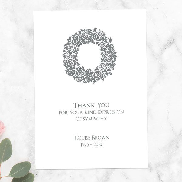 What Should I Say in a Thank You Card? - Funeral Thank You Cards - Rose Wreath