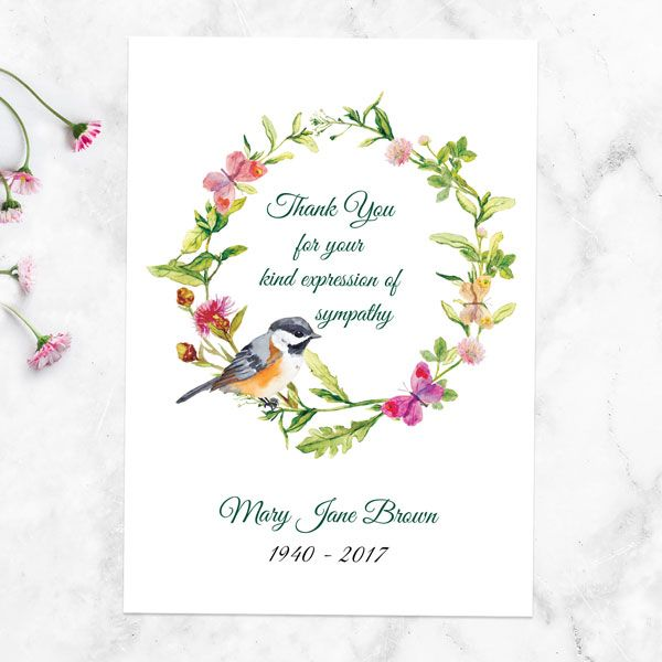How Long After a Funeral Do You Send Thank You Cards? - Funeral Thank You Cards - Watercolour Bird Garland